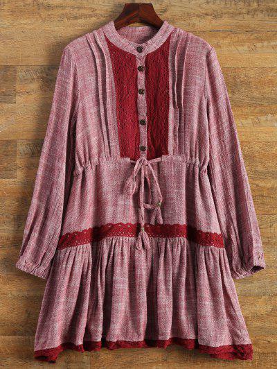فستان طويلة الأكمام الدانتيل فضفاض - نبيذ أحمر L