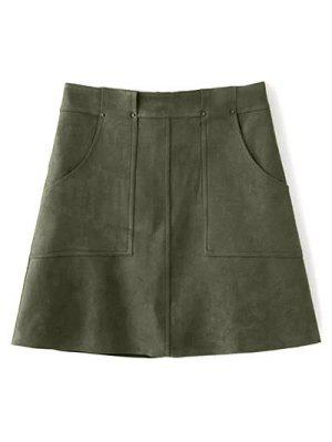 A Line Front Pockets Suede Skirt - Olive Green S
