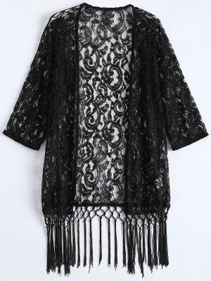 Fringe Lace Kimono Cover Up