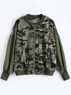 Distroyed Camo Bomber Jacket - Acu Camouflage 3xl