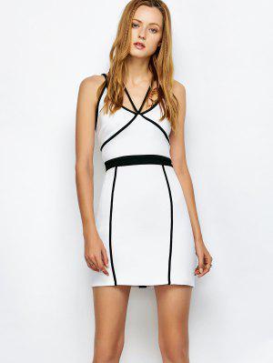 Vestido Ceñido Tirante Fino De Ventaje Con Ribete De Contraste - Blanco L
