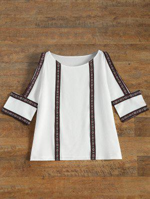 Embroidered Cold Shoulder Blouse - White M