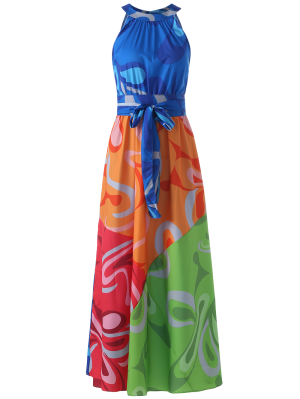 Colored Maxi Halter Beach Dress
