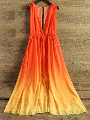 Plunging Neck Ombre Chiffon Dress - Jacinth M