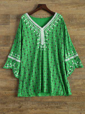 Printed Mini Tunic Dress - Green L