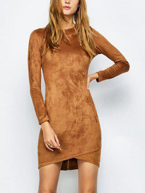 Back Zip Faux Suede Bodycon Dress - Camel M