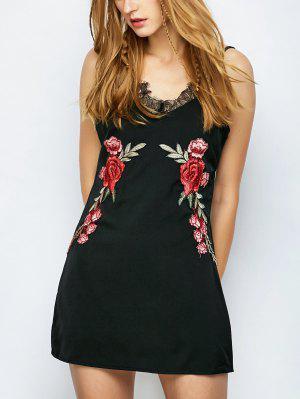 Floral Apliques Mini Vestido - Negro S
