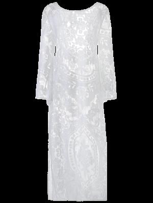 Flare Manga Sheer Lace Maxi Vestido - Blanco S