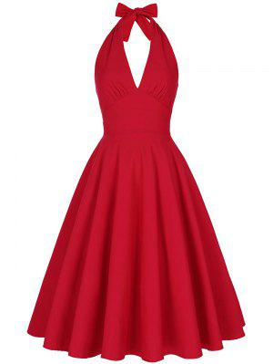 Backless Plunge Halter Vintage Swing Skater Party Dress