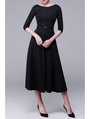 Three-Quarter Sleeve Midi A-Line Dress - Black L