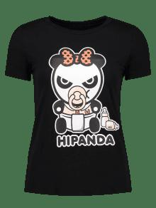 Cartoon Panda Pattern Tee - Black S