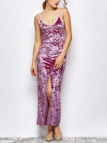 Front Slit Crushed Velvet Maxi Dress - Purple L