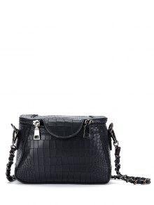 حقيبة طويلة التمر بالجسم بسلسلة - أسود