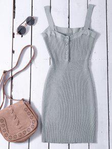 Vestido De Suéter Ceñido Con Tirantes Anchos - Gris