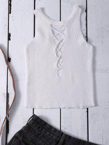 Buy Cropped Lace Sweater Tank Top - WHITE ONE SIZE