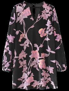Terciopelo Vestido De Cambio Floral De Manga Larga - Negro S