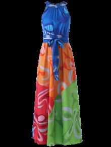 Colored Maxi Halter Beach Dress - S