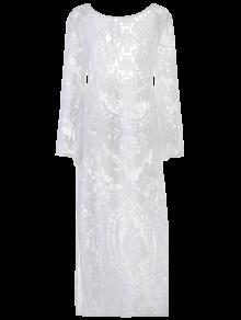 فستان توهج الأكمام شفاف خفيف الدانتيل ماكسي - أبيض S