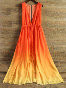 فستان الشيفون مع الياقة الغاطسة وبلا الأكمام - ياقوتة M