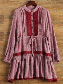 Long Sleeve Lace Bib Smock Dress - Wine Red S
