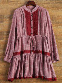 Vestido De Bata Con Encaje Con Manga Larga - Vino Rojo S