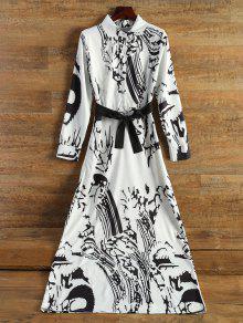 الفستان الطويل بالشيفون والطبع مع الكم الطويل - أبيض فاتح L