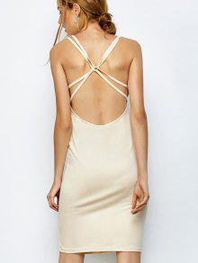 Strappy Backless Bodycon Dress - Apricot L
