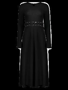 Vestido De Tejido Acanalado Midi Una Línea - Negro M