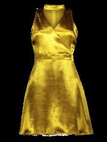 Mini Metallic Satin Choker Dress - Golden M