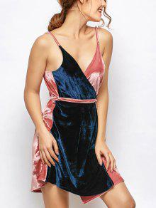 Vestido Envuelto De Terciopelo En Dos Tonos - Azuly Rosa