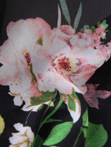 Anudada Floral De La Sobrepelliz Blusa Recortada L Negro UEqrU