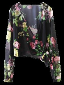 Knotted Cropped Surplice Floral Blouse - Black S