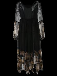 فستان طويلة الأكمام طباعة ماكسي الشيفون - أسود L