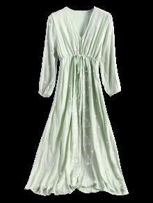 Con S Midi Con Bordado En Cuello V Salvia Vestido Verde Floral 4qqpS