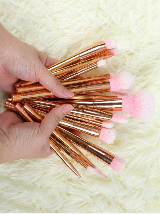 Ensemble de 15 brosses de maquillage en fibre - Or Rose