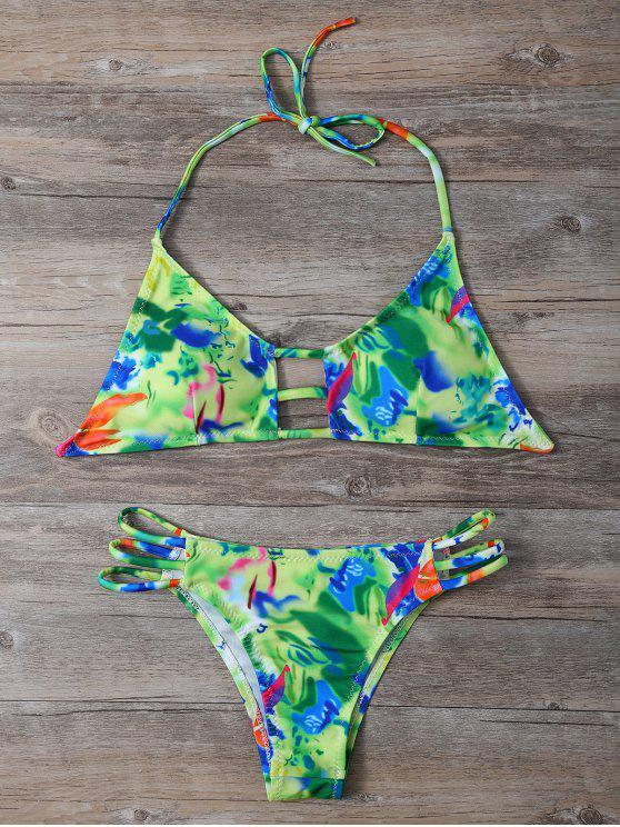 Halter colorido recorte Bikini Set - Colormix XL