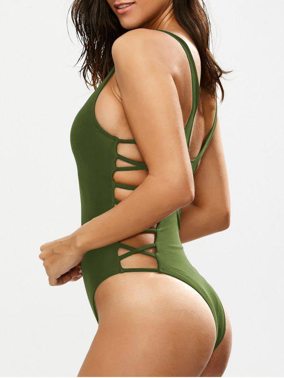women Crisscross Strap Cut Out Swimsuit - GREEN M