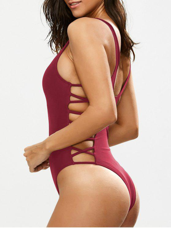 affordable Crisscross Strap Cut Out Swimsuit - BURGUNDY S