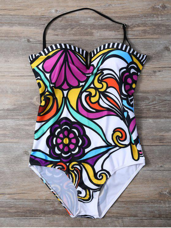 affordable Strapless Floral Print One-Piece Swimwear - WHITE S