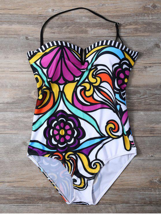 women's Strapless Floral Print One-Piece Swimwear - WHITE L