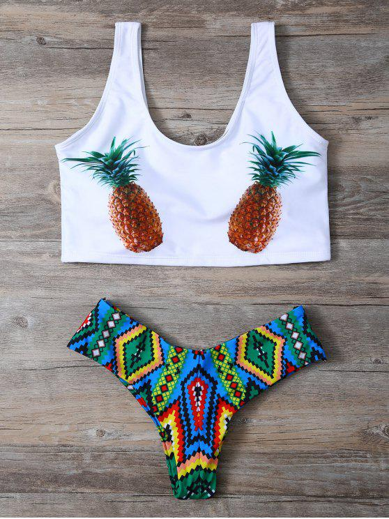 shop Pineapple Print Straps Bikini Set - WHITE XL