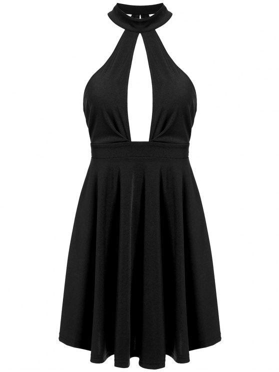 فستان بلا أكمام مفتوحة الظهر ثقب المفتاح غارق - أسود L