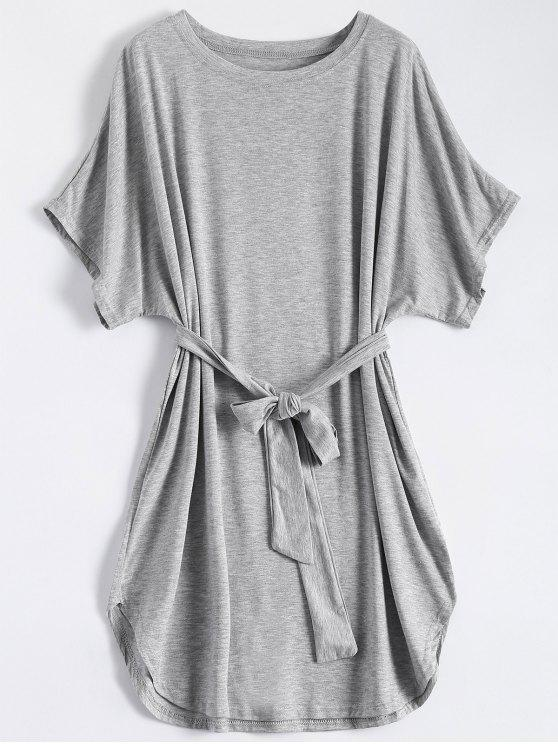 women's Belted Casual Mini Dress - GRAY M
