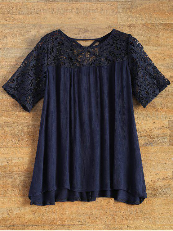 ladies Back Criss Cross Lace Insert Blouse - BLUE M