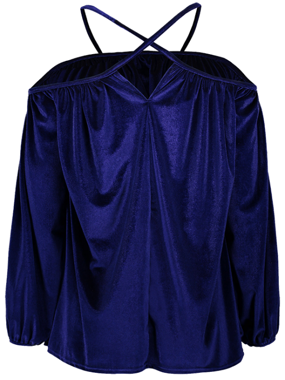 new Spaghetti Straps Cold Shoulder Velvet Top - ROYAL S
