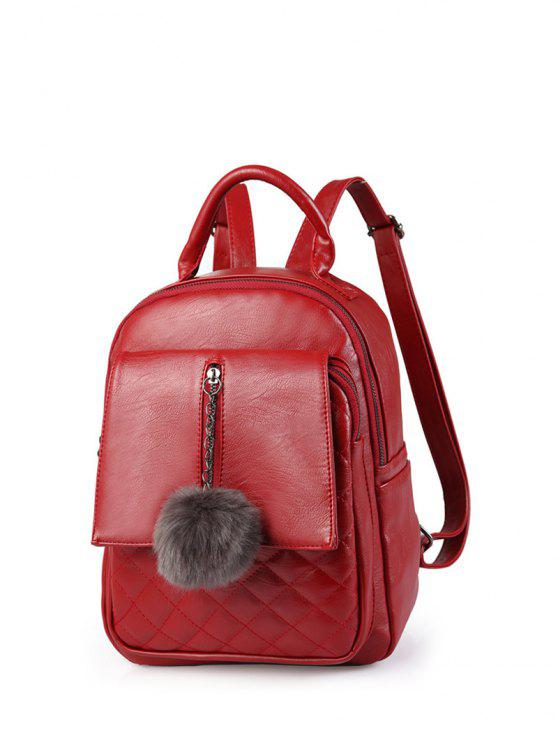 new Quilted Panel Backpack with Pom Pom - RED