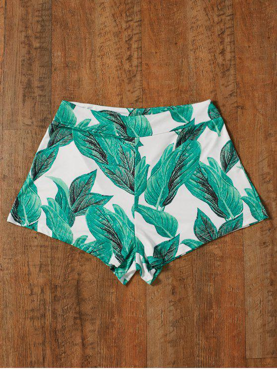 latest High Waisted Tropical Print Shorts - GREEN S