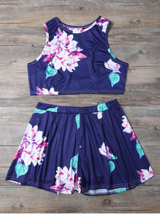 best Floral Print Crop Top and High-Waisted Shorts Set - BLUE S