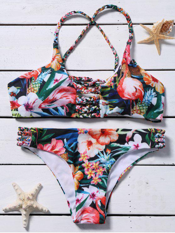 Recorte del cordón plano Conjunto floral del bikini - Verde S