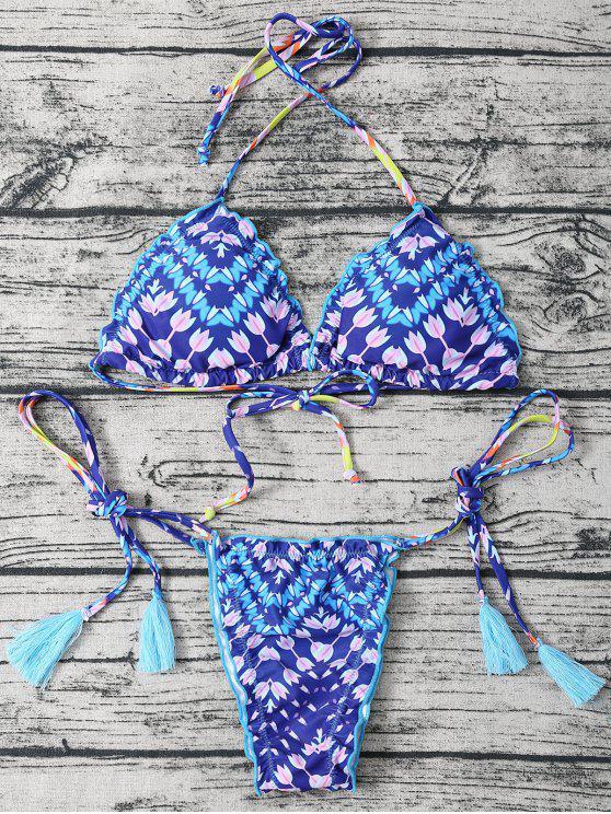 shops Side Tie Halter Tassel Printed Bikini Set - BLUE M